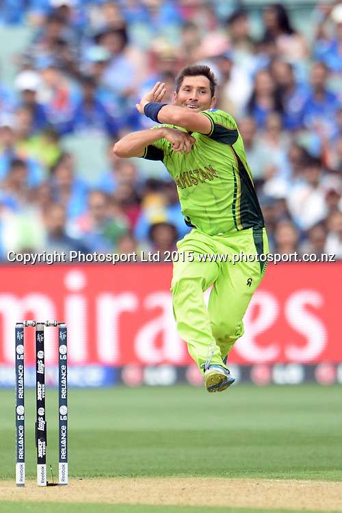 Pakistan spinner Yasir Shah into his delivery stride during the ICC Cricket World Cup match between India and Pakistan at Adelaide Oval in Adelaide, Australia. Sunday 15 February 2015. Copyright Photo: Raghavan Venugopal / www.photosport.co.nz