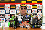 Leon Haslam (91) JG Speedfit Kawasaki in the press conference after race 1 at the BSB Championship at the TT Circuit,  Assen, Netherlands on 2nd October 2016. Photo by Nigel Cole.