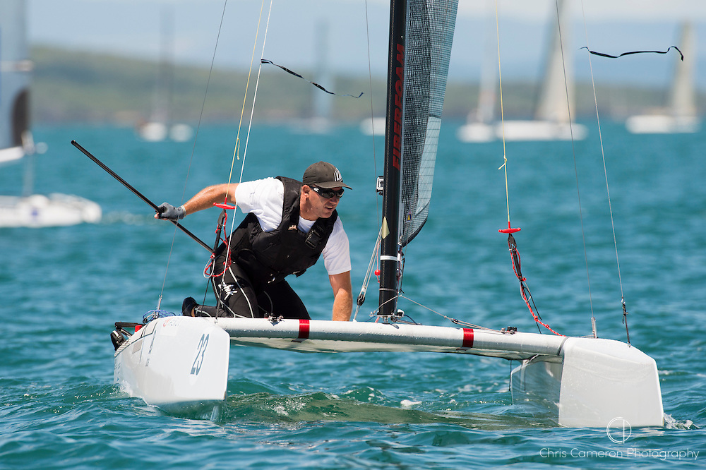 Ray Davies (NZL273), race nine of the A Class World championships regatta being sailed at Takapuna in Auckland. 16/2/2014