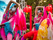 25 JANUARY 2017 - BANGKOK, THAILAND:        Chinese dancers perform during Chinese New Year, also called Tet, celebrations in Lumpini Park in Bangkok. 2017 is the Year of the Rooster in the Chinese zodiac. This year's Lunar New Year festivities in Bangkok were toned down because many people are still mourning the death Bhumibol Adulyadej, the Late King of Thailand, who died on Oct 13, 2016. PHOTO BY JACK KURTZ