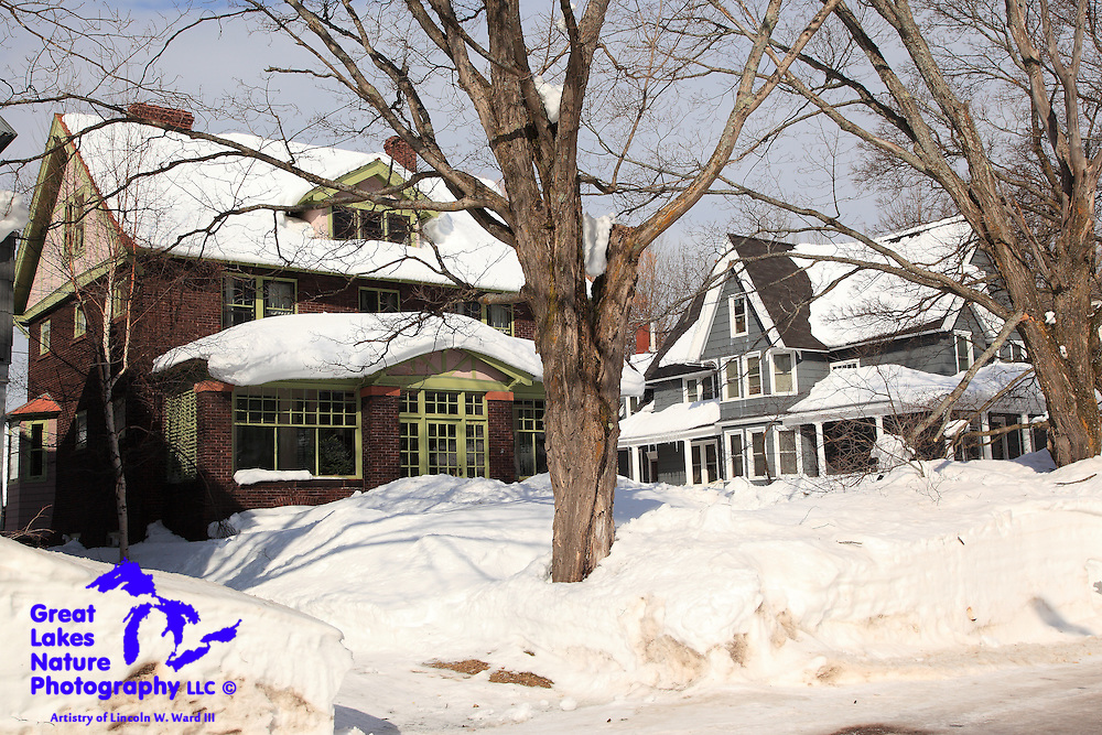 One of the many beautiful Calumet/Laurium homes, nestled in a deep blanket of snow.