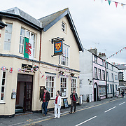 A street in downtown Beaumaris on the island of Anglesey of the north coast of Wales, UK.