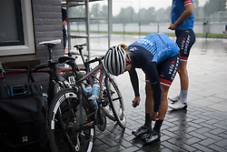 Pre-race stretches for Linda Villumsen at Boels Rental Ladies Tour Stage 2 a 132.8 km road race from Eibergen to Arnhem, Netherlands on August 30, 2017. (Photo by Sean Robinson/Velofocus)