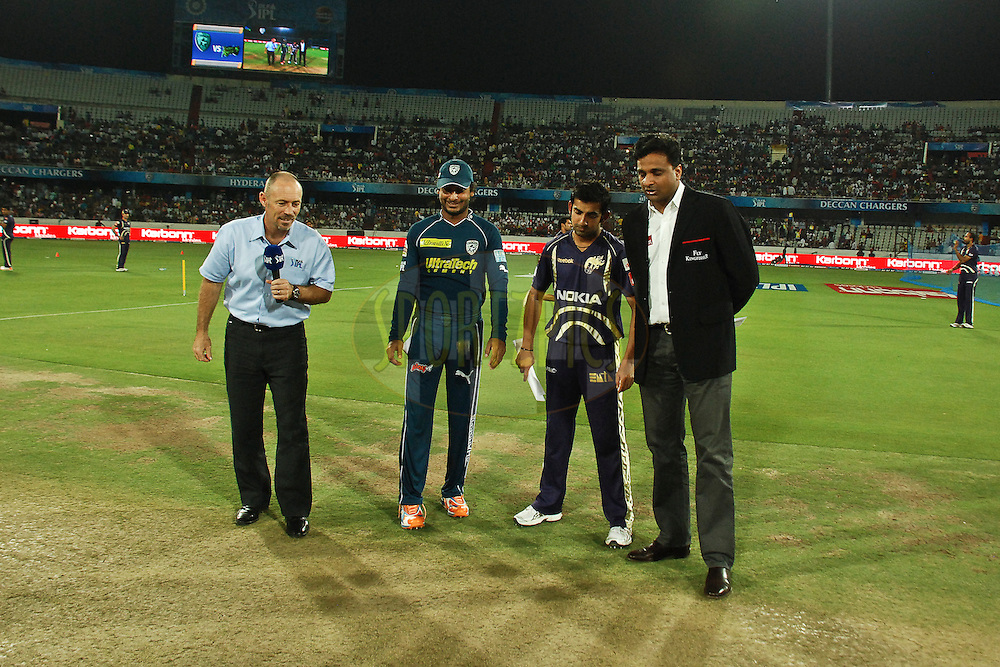 at the time of toss; Javagal Srinath match reffery(R), KKr captain Gambhir, DC captain Sangakara and TV presentation during match 42 of the Indian Premier League ( IPL ) between the Deccan Chargers and the Kolkata Knight Riders held at the Rajiv Gandhi International Cricket Stadium in Hyderabad on the 3rd May 2011..Photo by Saikat Das/BCCI/SPORTZPICS