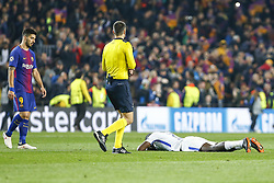 March 14, 2018 - Barcelona, Catalonia, Spain - Chelsea FC defender Antonio Rudiger (2) desolated by defeat and FC Barcelona forward Luis Suarez (9) during UEFA Champions League match between FC Barcelona and Chelsea FC at Camp Nou Stadium corresponding of Round of 16, Second leg on March 14, 2018 in Barcelona, Spain. (Credit Image: © Urbanandsport/NurPhoto via ZUMA Press)