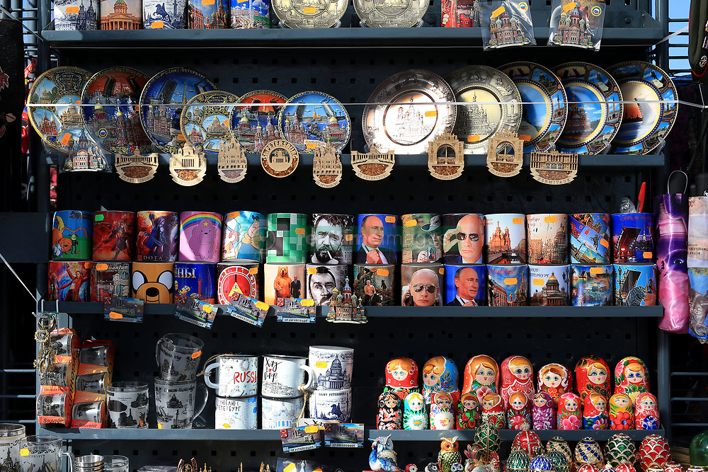 16th June 2017 - FIFA Confederations Cup - Souvenirs bearing the face of Russian President Vladimir Putin are amongst those for sale on a stall in Saint Petersburg - Photo: Simon Stacpoole / Offside.