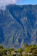 Namolokama mountain, with waterfall, in Hanalei National Wildlife Refuge, as seen from Princeville, Kauai, Hawaii, Hawaiian Islands, U.S.A.
