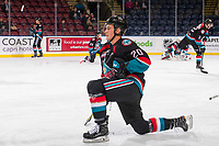 KELOWNA, CANADA - OCTOBER 3: Conner Bruggen-Cate #20 of the Kelowna Rockets stretches on the ice during warm up against the Vancouver Giants  on October 3, 2018 at Prospera Place in Kelowna, British Columbia, Canada.  (Photo by Marissa Baecker/Shoot the Breeze)  *** Local Caption ***