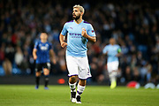 Manchester City forward Sergio Aguero (10) during the Champions League match between Manchester City and Atalanta at the Etihad Stadium, Manchester, England on 22 October 2019.