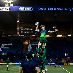 Cian Kelleher of Connacht during the pre match warm up<br /> <br /> Photographer Simon King/Replay Images<br /> <br /> Guinness PRO14 Round 14 - Cardiff Blues v Connacht - Saturday 26th January 2019 - Cardiff Arms Park - Cardiff<br /> <br /> World Copyright © Replay Images . All rights reserved. info@replayimages.co.uk - http://replayimages.co.uk