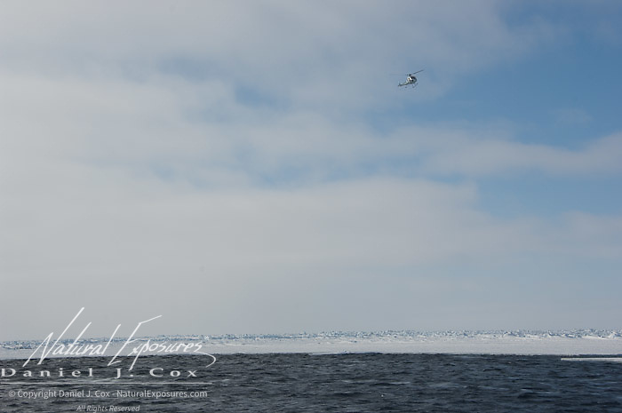 A helicopter flying over the Beaufort Sea. Kaktovik, Alaska.