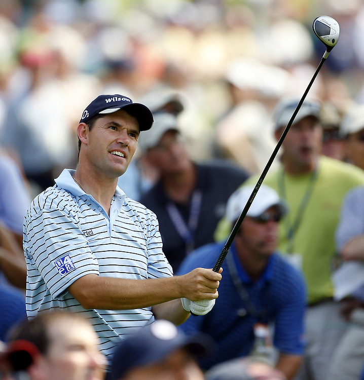 Padraig Harrington of Ireland watches his tee shot on the fourth hole during the third day of the US Open Golf Championship at Winged Foot Golf Club in Mamaroneck, New York Saturday, 17 June 2006. .