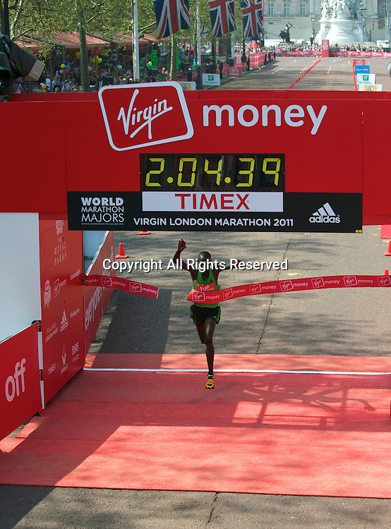 17.4.2011. Virgin London Marathon 2011. Emmanuel Mutai of Kenya wins the Virgin London Marathon with a time of 2.04.39 at the finish line of The Virgin London Marathon at The Mall, London ,England