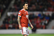 Nottingham Forest forward Lee Tomlin (15) during the EFL Sky Bet Championship match between Nottingham Forest and Barnsley at the City Ground, Nottingham, England on 24 April 2018. Picture by Jon Hobley.