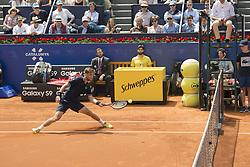 April 25, 2018 - Barcelona, Barcelona, Spain - MARTIN KLIZAN hits the ball during a match against NOVAK DJOKOVIC in the Barcelona Open Banc Sabadell 2018. MARTIN KLIZAN won the match 6-3 6-7(5) 6-4. (Credit Image: © Patricia Rodrigues/via ZUMA Wire via ZUMA Wire)
