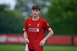KIRKBY, ENGLAND - Saturday, August 31, 2019: Liverpool's Layton Stewart during the Under-18 FA Premier League match between Liverpool FC and Manchester United at the Liverpool Academy. (Pic by David Rawcliffe/Propaganda)