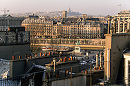 France. Paris. elevated view. Panoramic view on the north of Paris , Sacre coeur, Seine River, Saint Germain l'Auxerrois church  city island , Henri IV statue  view from Citadines apart' hotel  Saint Germain