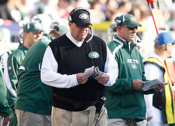 Nov 29, 2009; East Rutherford, NJ, USA; New York Jets head coach Rex Ryan during the first half at Giants Stadium.