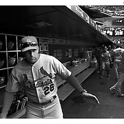 Mike Matheny, St. Louis Cardinals Manager in the dugout during his sides loss in the New York Mets Vs St. Louis Cardinals MLB regular season baseball game at Citi Field, Queens, New York. USA. 21st May 2015. Photo Tim Clayton