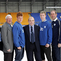 Launch of St Johnstone FC Sportsman's Dinner in aid of the Youth Team Development.  Pictured from left, Charlie Gallagher. Tommy Campbell, Stevie McManus, Alistair Connolly (HBOS), Andy Jackson, John Connolly and Mark Young (HBOS)<br />