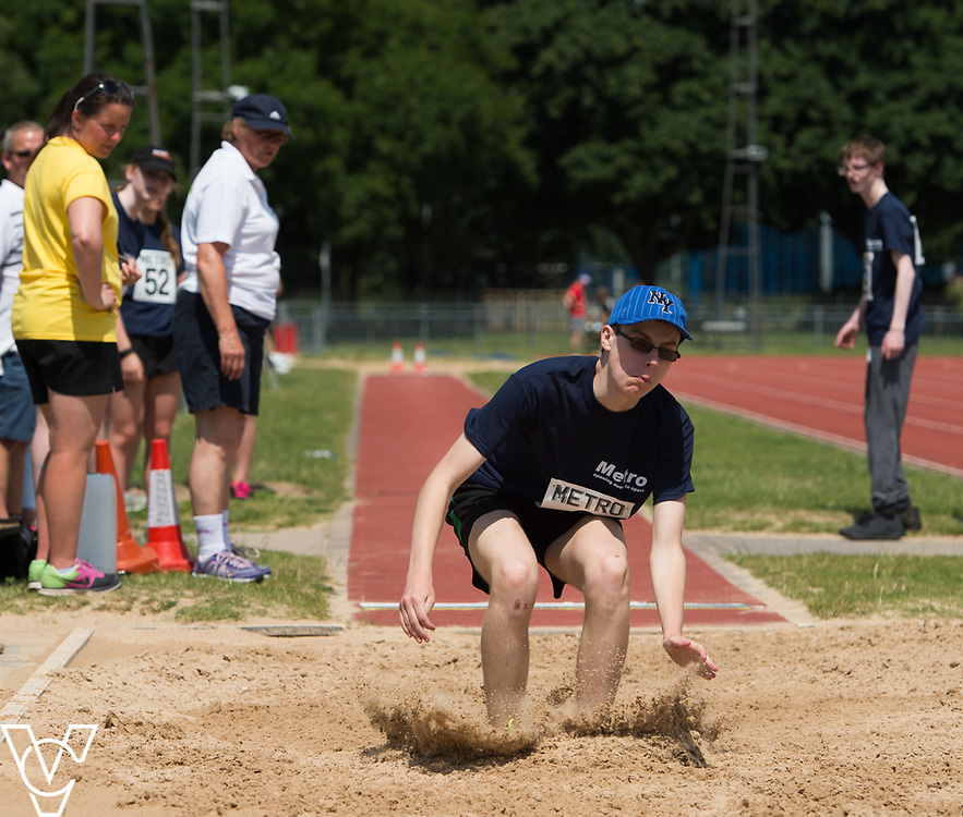 Metro Blind Sport's 2017 Athletics Open held at Mile End Stadium.  Long jump. Matthew Boulding<br /> <br /> Picture: Chris Vaughan Photography for Metro Blind Sport<br /> Date: June 17, 2017