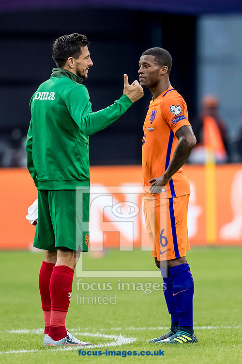 Georginio Wijnaldum of Netherlands (R) and Stanislav Manolev of Bulgaria (L), former teammates at PSV after the 2018 FIFA World Cup Qualifying match at Amsterdam Arena, Amsterdam<br /> Picture by Joep Joseph Leenen/Focus Images Ltd +316 5261929<br /> 03/09/2017<br /> ***NETHERLANDS OUT***