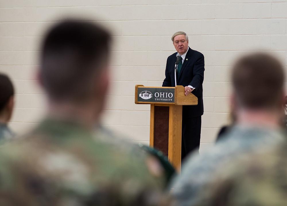 Ohio University President Duane Nellis speaks to members of  Ohio University's ROTC before being presented the MacArthur award.