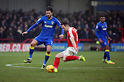AFC Wimbledon defender George Francomb (7) battles for possesion with Charlton Athletic midfielder Andrew Crofts (8) during the EFL Sky Bet League 1 match between AFC Wimbledon and Charlton Athletic at the Cherry Red Records Stadium, Kingston, England on 11 February 2017. Photo by Matthew Redman.