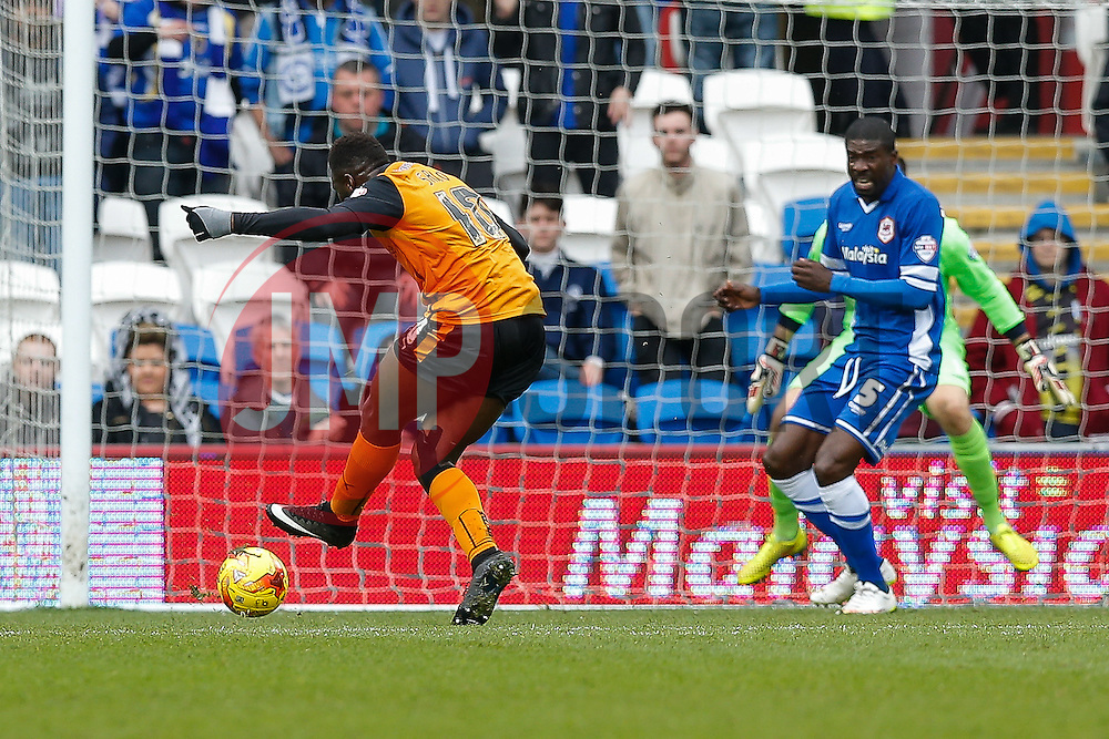 Bakary Sako of Wolverhampton Wanderers scores a goal to make it 0-1 - Photo mandatory by-line: Rogan Thomson/JMP - 07966 386802 - 28/02/2015 - SPORT - FOOTBALL - Cardiff, Wales - Cardiff City Stadium - Cardiff City v Wolverhampton Wanderers - Sky Bet Championship.