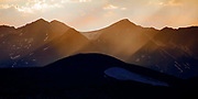 Sun rays over the Never Summer Mountains in the Colorado Rockies