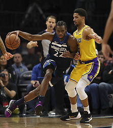 January 6, 2019 - Minneapolis, MN, USA - Minnesota Timberwolves forward Andrew Wiggins (22) drives against the defense of Los Angeles Lakers guard Josh Hart (3) in the second half on Sunday, Jan. 6, 2019 at Target Center in Minneapolis, Minn. The Minnesota Timberwolves defeated the Los Angeles Lakers, 108-86. (Credit Image: © Jeff Wheeler/Minneapolis Star Tribune/TNS via ZUMA Wire)