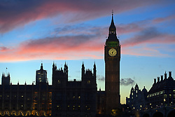 © London News Pictures. 23/10/2013 . London, UK.  Sunset over the Houses of Parliament in Westminster, central London on october 23, 2013  Photo credit : Ben Cawthra/LNP