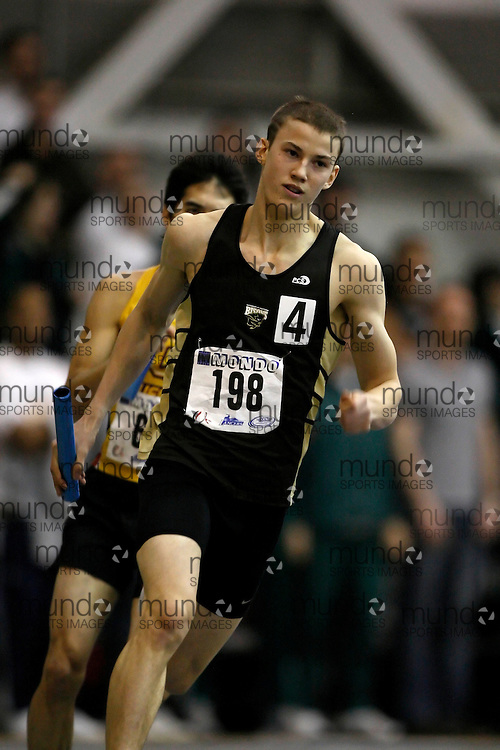 Windsor, Ontario ---14/03/09--- Quin Ferguson of  the University of Manitoba competes in the 4x400m relay at the CIS track and field championships in Windsor, Ontario, March 14, 2009..Claus Andersen Mundo Sport Images