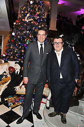 Left to right, THOMAS KOCHS General Manager of Claridge's and ALBER ELBAZ at the unveiling of the Claridge's Christmas tree 2011 designed by Alber Elbaz for Lanvin held at Claridge's, Brook Street, London on 5th December 2011.