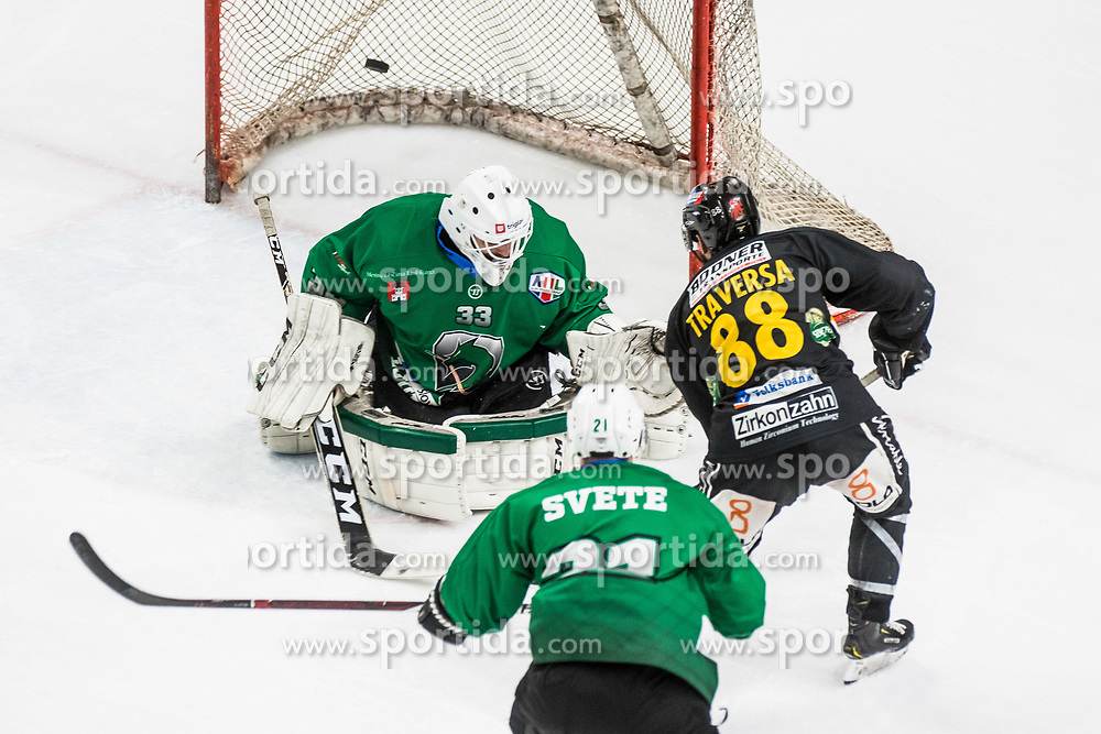US Zan of HK SZ Olimpija and Tommaso Traversa of HC Pustertal Wolfe during Ice Hockey match between HK SZ Olimpija and HC Pustertal Wolfe in 3rd Final game of Alps Hockey League 2018/19, on April 14th, 2019, in Hala Tivoli, Ljubljana, Slovenia. Photo by Grega Valancic