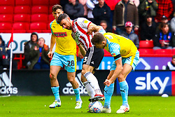 Enda Stevens of Sheffield United holds off Will Vaulks of Rotherham United to keep possession - Mandatory by-line: Ryan Crockett/JMP - 09/03/2019 - FOOTBALL - Bramall Lane - Sheffield, England - Sheffield United v Rotherham United - Sky Bet Championship