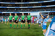 SYDNEY, AUSTRALIA - APRIL 06: The players walk onto the field at round 24 of the Hyundai A-League Soccer between Sydney FC and Melbourne Victory on April 06, 2019, at The Sydney Cricket Ground in Sydney, Australia. (Photo by Speed Media/Icon Sportswire)