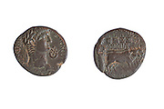 Acco Nero bronze coin Left, bust of Nero. Right, Ploughing with an ox