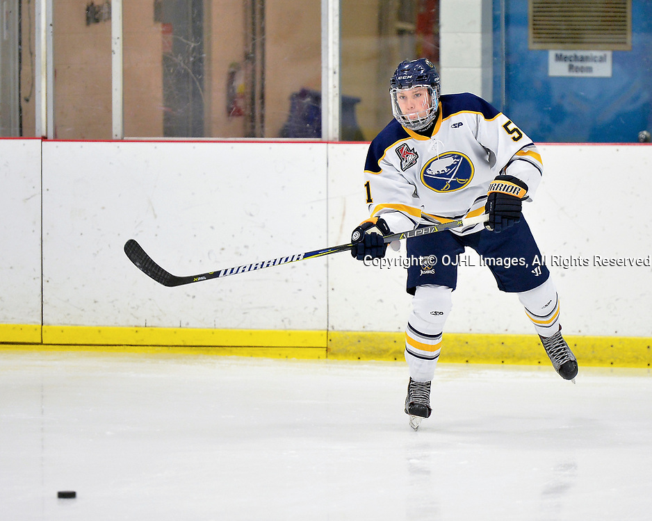 GEORGETOWN, ON  - NOV 4,  2017: Ontario Junior Hockey League game between the Georgetown Raiders and Buffalo Jr. Sabres. Jordan Gonzalez #51 of the Buffalo Jr. Sabres passes the puck during pregame warm-up.<br /> (Photo by Shawn Muir / OJHL Images)
