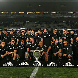 The All Blacks celebrate winning the Bledisloe Cup and Rugby Championship rugby match between the New Zealand All Blacks and Australia Wallabies at Eden Park in Auckland, New Zealand on Saturday, 25 August 2018. Photo: Simon Watts / lintottphoto.co.nz