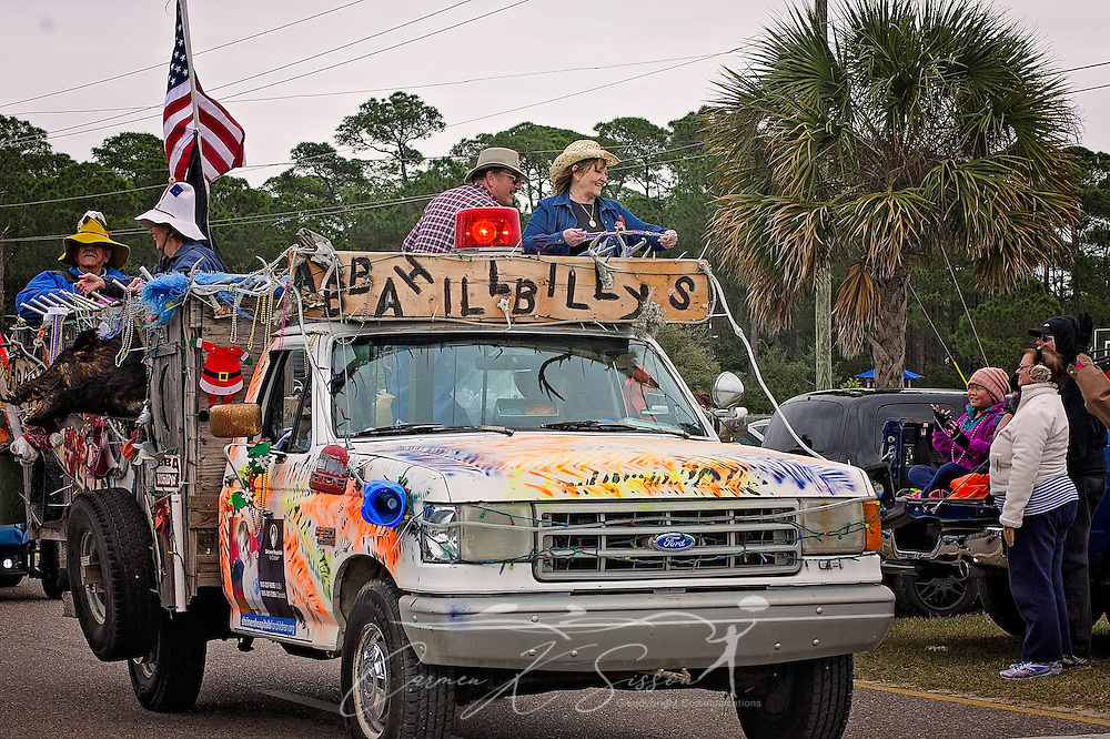 Members of the ABBA Shriners participate in the Krewe de la Dauphine Mardi Gras Parade, Jan. 28, 2017, in Dauphin Island, Alabama. The theme of the parade was famous couples. This group paid homage to the Beverly Hillbillies. (Photo by Carmen K. Sisson/Cloudybright)
