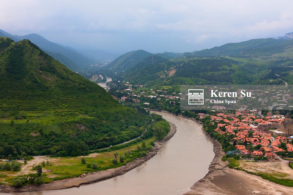 Mtskheta on the confluence of the Aragvi and Kura rivers, Georgia
