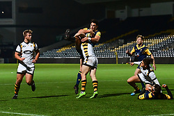 Bryce Heem of Worcester Cavaliers is tackled by Sam Sterling of Wasps - Mandatory by-line: Craig Thomas/JMP - 23/10/2017 - RUGBY - Sixways Stadium - Worcester, England - Worcester Cavaliers v Wasps - Aviva A League