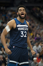 January 6, 2019 - Minneapolis, MN, USA - Minnesota Timberwolves center Karl-Anthony Towns (32) reacts after he was fouled after hitting a basket in the first half against the Los Angeles Lakers on Sunday, Jan. 6, 2019 at Target Center in Minneapolis, Minn. The Minnesota Timberwolves defeated the Los Angeles Lakers, 108-86. (Credit Image: © Jeff Wheeler/Minneapolis Star Tribune/TNS via ZUMA Wire)