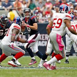 October 10, 2010; Houston, TX USA; Houston Texans quarterback Matt Schaub (8) drops back to pass against the New York Giants during the first half at Reliant Stadium. Mandatory Credit: Derick E. Hingle