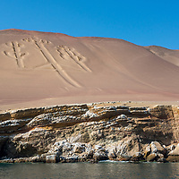 The Paracas Candelabra, or the Candelabra of the Andes, is a well-known prehistoric geoglyph found on the northern face of the Paracas Peninsula at Pisco Bay in Peru.