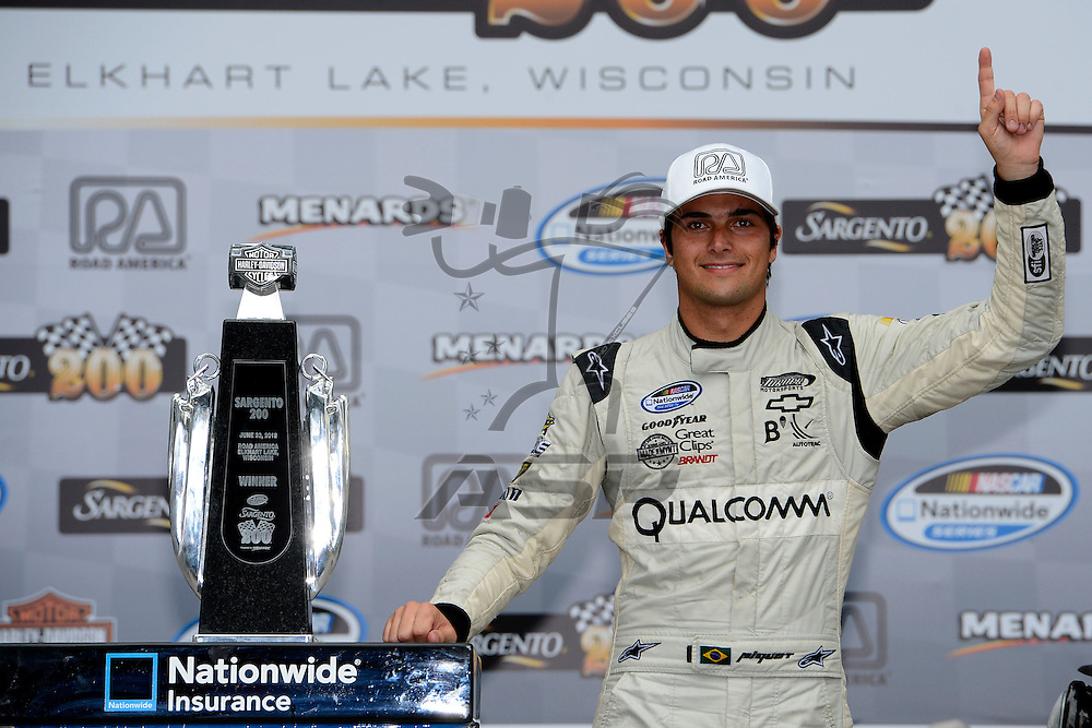 Elkhart Lake,WI - JUN 23, 2012: Nelson Piquet Jr. (30) wins the Sargento 200  race at the Road of America in Elkhart Lake , WI.