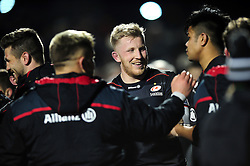 Jackson Wray of Saracens is all smiles after the match - Mandatory byline: Patrick Khachfe/JMP - 07966 386802 - 05/02/2017 - RUGBY UNION - Allianz Park - London, England - Saracens v Leicester Tigers - Anglo-Welsh Cup.