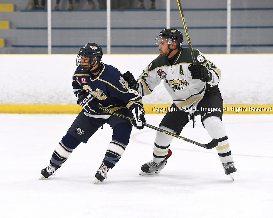 TORONTO, ON - OCT 8,  2016: Ontario Junior Hockey League game between Cobourg and Toronto, Jason DiPerna #9 of the Toronto Patriots battles for control with Theo Lewis #72 of the Cobourg Cougars during the first period.<br /> (Photo by Andy Corneau / OJHL Images)