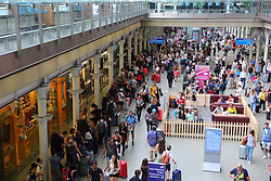 © Licensed to London News Pictures. 20/07/2018. London, UK. Hundreds of people queue for Eurostar services at St Pancras International station on 'frantic Friday' as thousands of holidaymakers head off at the start of the school holidays. Photo credit: Rob Pinney/LNP